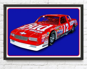 NASCAR Budweiser Monte Carlo, 1986 Chevrolet Neil Bonnet Winston Cup race car, 1980's auto