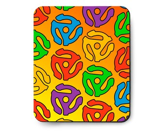 45 RPM Rock and Roll Mouse Pad, Peter Max style, Vintage 1960's art