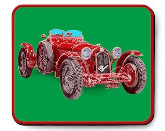 Alfa Romeo race car mouse pad, vintage Italian Gran Prix race car, 1930's auto