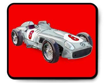 Mercedes-Benz race car mouse pad, W196 R 1955 Formula One, vintage F1 Juan Manuel Fangio, 1950's auto