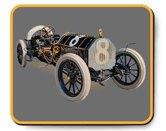 Indy 500 race car mouse pad, vintage Indy car art, 1909 Bête Noire Alco, The Black Beast, 1900's auto, Brass era
