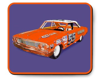 Ford Galaxie race car mouse pad, vintage NASCAR, Tiny Lund's 1964 Grand National Stock Car, 1960's auto