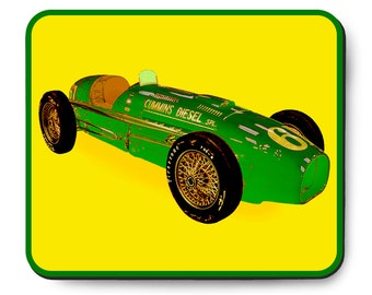 Cummins Diesel Special race car mouse pad, Vintage Indianapolis 500 art, The Green Hornet 1950's auto, Indy 500 Race Car