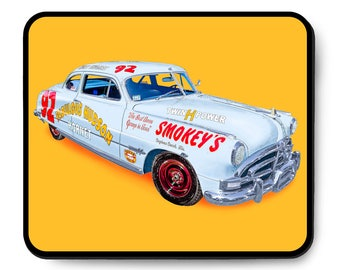 1951 Fabulous Hudson Hornet #92 mouse pad, Doc Hudson Cars Movie, vintage NASCAR art, 1950's auto