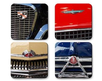 Coaster Set Hudson Hornet, Ford, Studebaker, Mercury, Mid Century Classic Car Hood Ornaments with Gift Tin Box