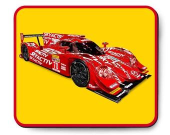 Mazda race car mouse pad, prototype SkyActiv-D Diesel, 2014 IMSA race car art, Tudor series