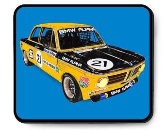 BMW Alpina 2002ti race car mouse pad, vintage German race car, TRANS-AM series, 1970's auto art