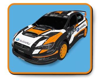 Bucky Lasek race car mousepad, Subaru Rally Team USA WRX STI VT15x, Rallycross racing art