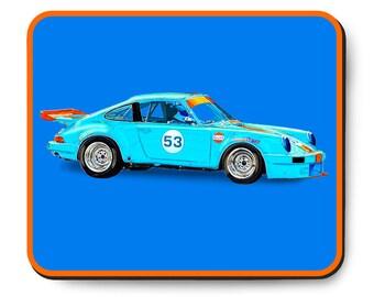 Porsche 911 race car mouse pad, vintage German car, Gulf Livery, 1970's auto