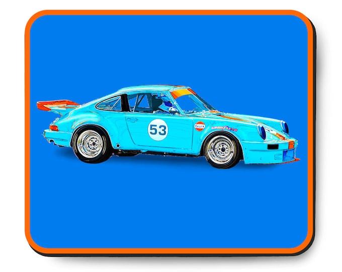 Featured listing image: Porsche 911 race car mouse pad, vintage German car, Gulf Livery, 1970's auto