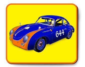 """1956 Porsche 356 A """"T1"""" race car mouse pad, vintage German Sports Car, 1950's auto"""