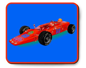Indy 500 race car mouse pad, vintage Lotus Turbine, 1968 Indianapolis 500 Pole Winner, 1960's auto