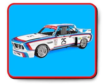 "BMW 3.0 CSL ""Batmobile"", vintage German race car mouse pad, Winner of 1975 12 hours of Sebring, 1970's auto art"