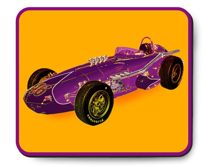 Featured listing image: Indy 500 vintage race car mouse pad, 1963 Indianapolis 500, 1963 Racing Associates Special, 1960's auto