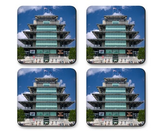 Coaster Set of Indianapolis Motor Speedway Pagoda, in Tin Gift Box, Indy 500