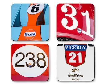 Race Car Coaster Set with Metal Gift Box, Ford, Maserati, Lancia, Indy Car