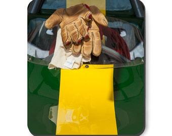 British Racing Green Lotus, race car art, mousepad, race car and gloves