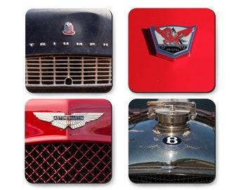 Coaster Set of British Sports Cars, Aston Martin, Triumph, Bentley, Arnolt in Tin Gift Box
