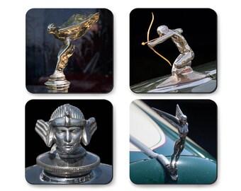 Coaster Set of Classic Car Hood Ornaments, Mythological Figures, Rolls Royce, Plymouth, Stutz, Pierce Arrow in Tin Gift Box
