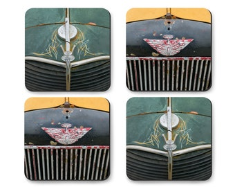 Rat Rod Coaster Set with Metal Gift Box, Ford Truck vintage 1940s car grill, TROG hot rod