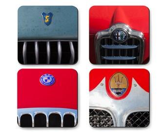 Coaster Set of Italian Sports Cars, Alfa Romeo, Maserati, OSCA, Siata in Tin Gift Box