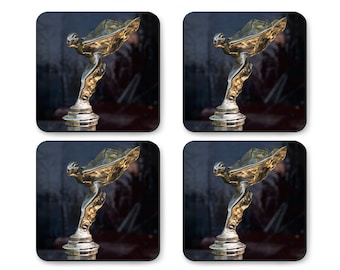 Coaster Set The Spirit of Ecstasy 1921 Rolls-Royce Silver Ghost Drophead Coupé Classic Car