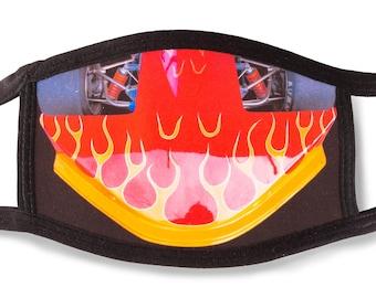 Face mask Formula race car, vintage 1970s Formula racing, Flames