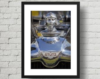 Vintage Race Car art, Stutz Head of Ra, Hood Ornament, Stutz Blackhawk, photograph