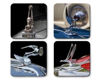 Classic Car Hood Ornaments, Coaster Set, Animal Kingdom, duPont, Studebaker, Packard, Chrysler in Tin Gift Box