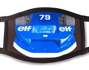 Face mask ELF race car, vintage 1970s Formula racing