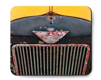Rat Rod race car mouse pad, Race Of Gentlemen TROG, Vintage 1930's auto, Silver Wings