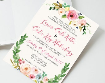 Watercolor Floral Wedding Invitation, Printable wedding invitation, Floral Wedding Invitation Printable, Wedding invitation template