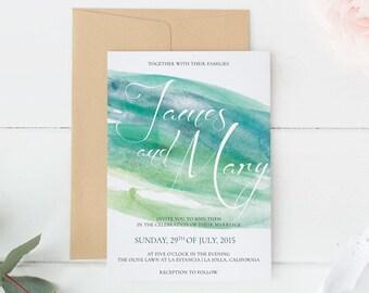 Printable Wedding Invitation, Watercolor wedding invite, Printable Digital Wedding Invite, Wedding invitation template Turquoise #004