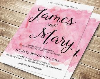 Printable Wedding Invitation, Watercolor wedding invite, Printable Digital Wedding Invite, Wedding invitation template pink #018