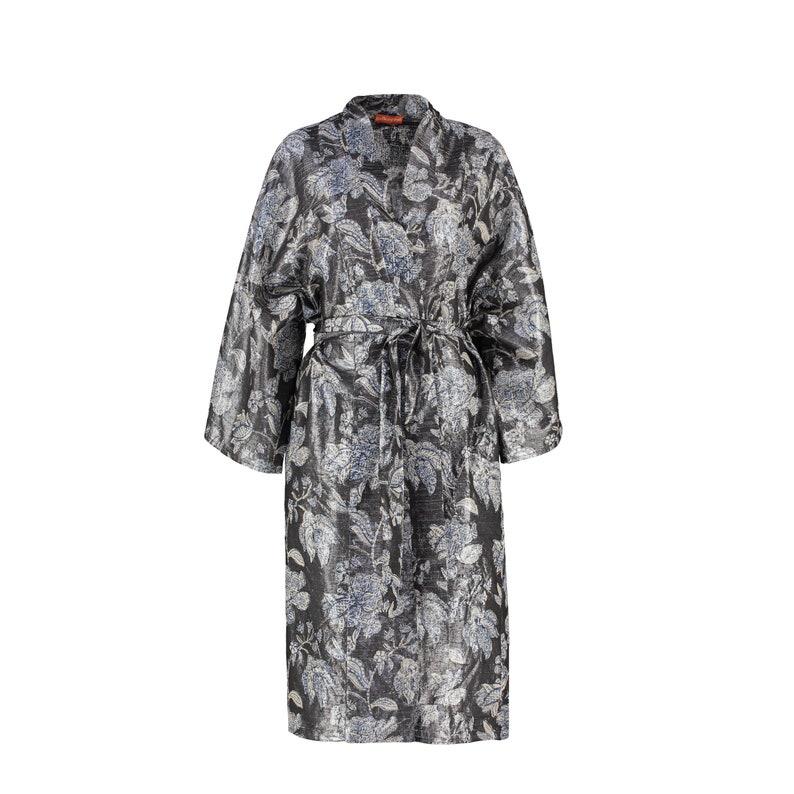 Metallic Floral Block Printed Silk Kimono Robe