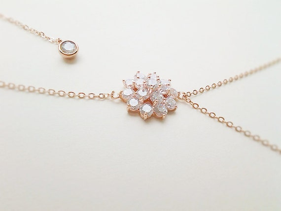 Flower Rose Gold Backdrop Necklace Bridal Jewelry Backless Etsy