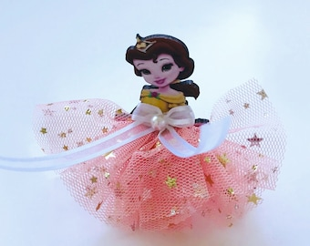 Disney Princess Belle,Tulle Hair Clip,Lace Hairclip,Gold Star Chiffon Toddler,Back to School,Boxing Day,Prom