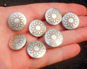 Sterling Silver Concho Button Covers Floral Design Lot of 7 Western Wear Dress Up That Western Outfit