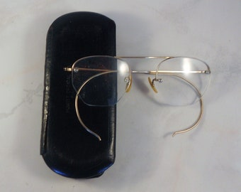 9054be1cee Vintage Shuron Wire Rim Eyeglasses 12K Gold Filled Frames With Hard Case  Bifocal Glasses Top Frame and Rimless