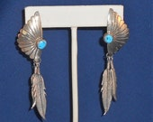 Navajo Sterling Silver Turquoise Earrings Shadowbox Design with Bright Blue Turquoise Two Dangle Feathers Southwestern Jewelry