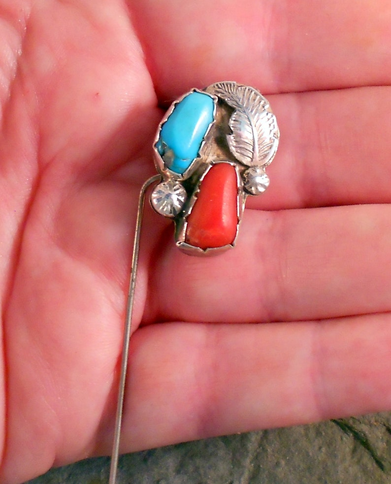 Navajo Sterling Silver Turquoise /& Coral Stick Pin or Brooch Native American Handmade Southwestern Jewelry