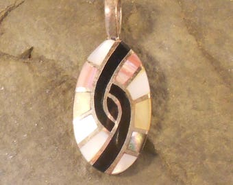 Zuni Style Pendant Sterling Silver Shell and Onyx Inlay In Symbol of Hummingbird Zuni Native American Style
