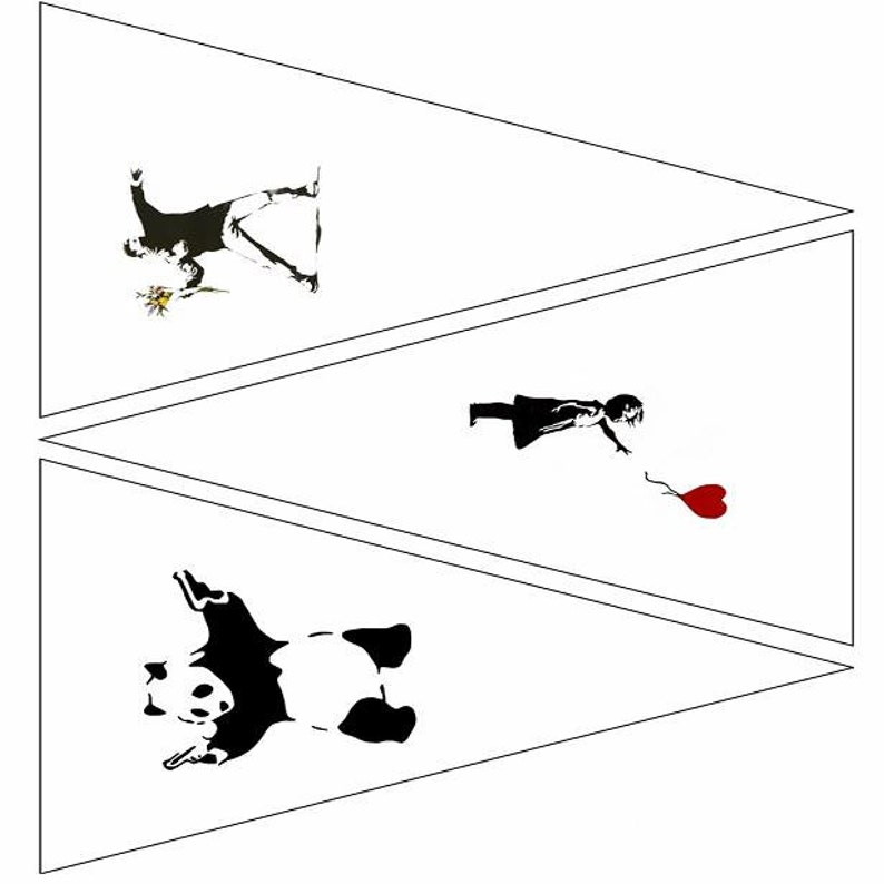 Banksy Printable Bunting Template 4 Pages 12 Images Etsy