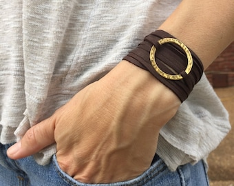 Leather wrap bracelet, gold and leather bracelet, gold and leather wrap bracelet, boho wrap bracelet, Indie leather wrap bracelet