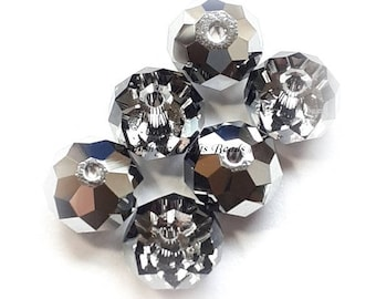 81b458dd0083 Swarovski Crystal Beads 6 Pcs 5040 CRYSTAL LIGHT CHROME Faceted Rondelle  (Briolette Donut) Spacer Bead - Sizes 6mm   8mm available
