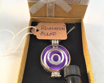 Circular Filigree Aromatherapy Diffuser Necklace Locket + Essential Oil Custom Blend Gift