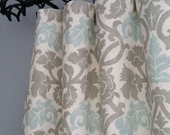 Gray Curtain Panels Blue And Turquoise Drapes Drapery IKAT Curtains