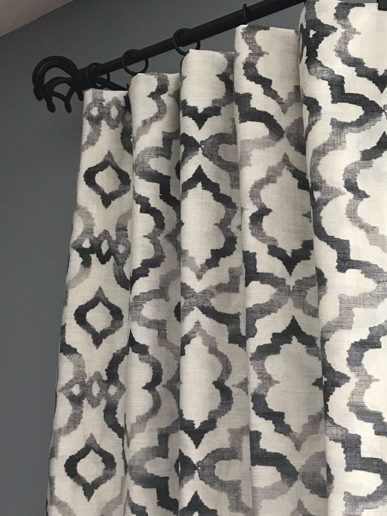 8b55bbe891e2f Pair of curtains, drapery panels. Black, gray and off white panels. Custom  lengths/widths on request. Panels, curtains, drapes.