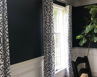 Navy blue and white curtain panels. Custom widths, lengths, grommets, lining available with a message. Geometric curtains.  Valances