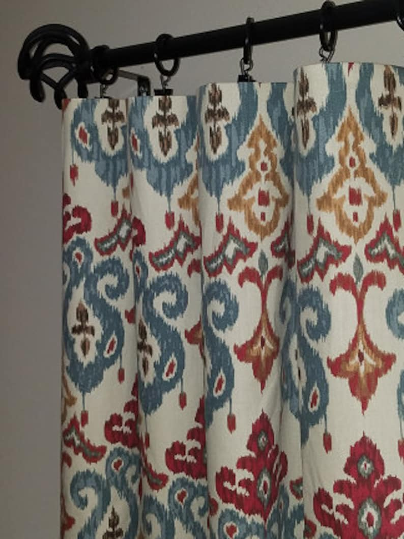 66783c33ebcad Pair of drapery curtain panels. Ikat curtains. Custom orders for width  length available, message me.